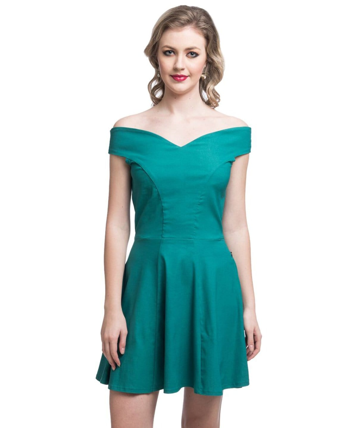 Solid Green Off Shoulder Stretch Dress - Uptownie