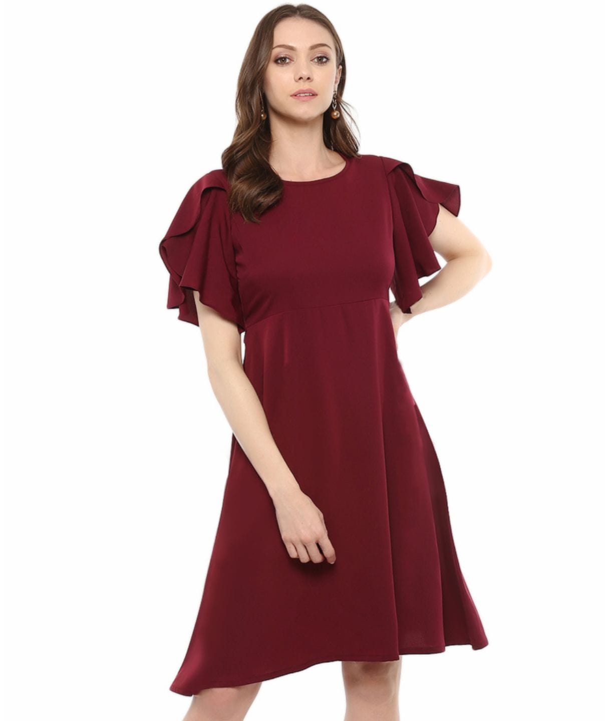 Solid Ruffle Sleeves Fit and Flare Crepe Skater Dress