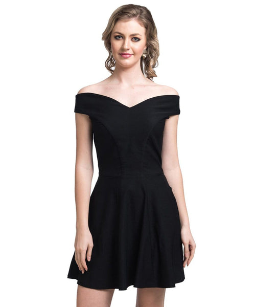 Solid Black Off Shoulder Stretchable Cotton Dress - Uptownie