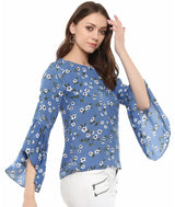 Blue Floral Print Round Neck Bell Sleeves Top