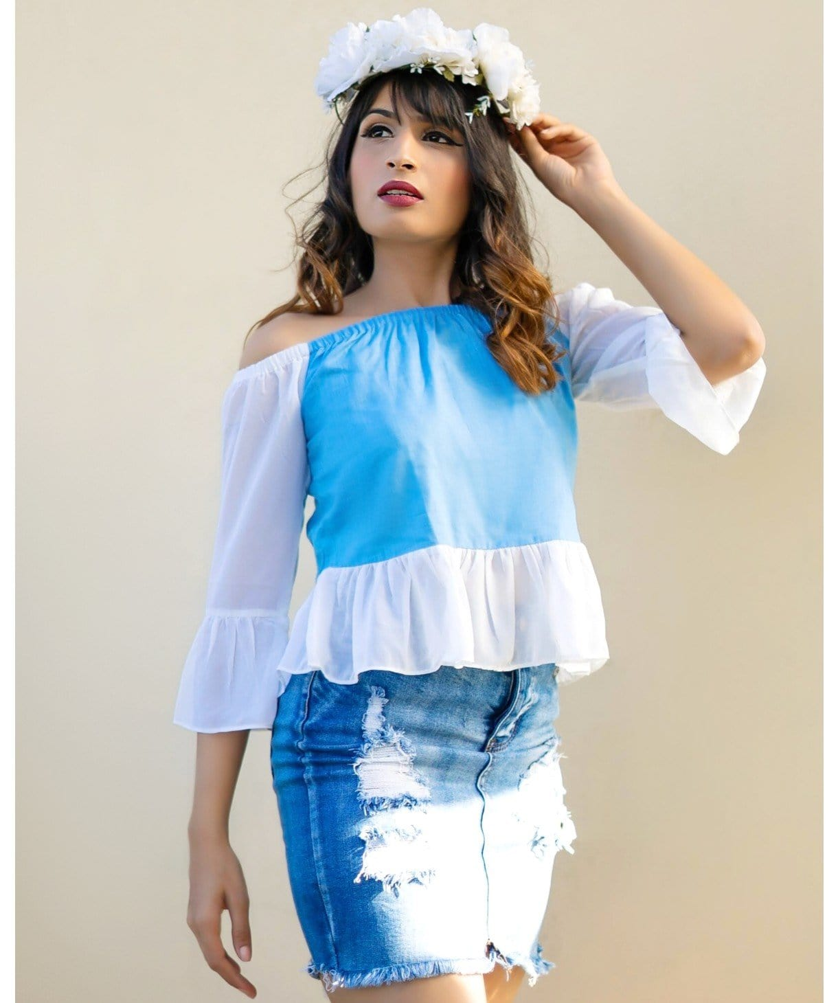 Solid Blue Off Shoulder Chambray Georgette Top