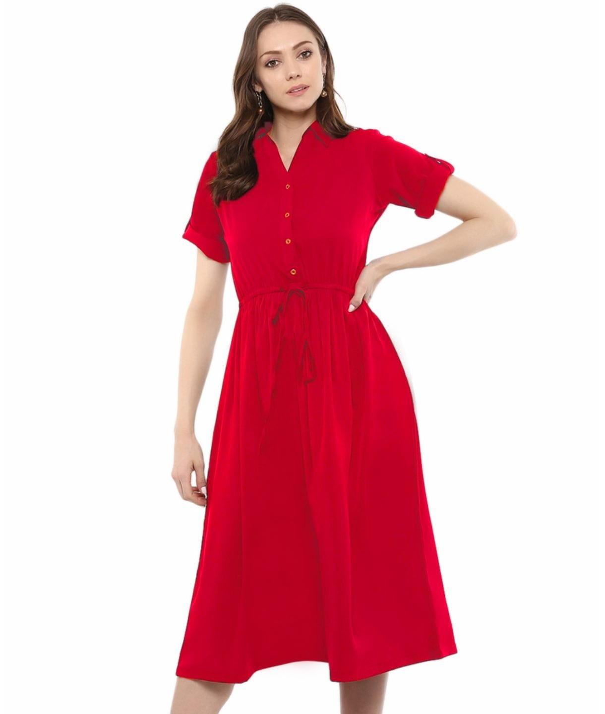 Red Solid Crepe Collar 3/4th Sleeves Maternity Dress