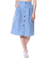 Buttoned Down Chambray Skirt - Uptownie