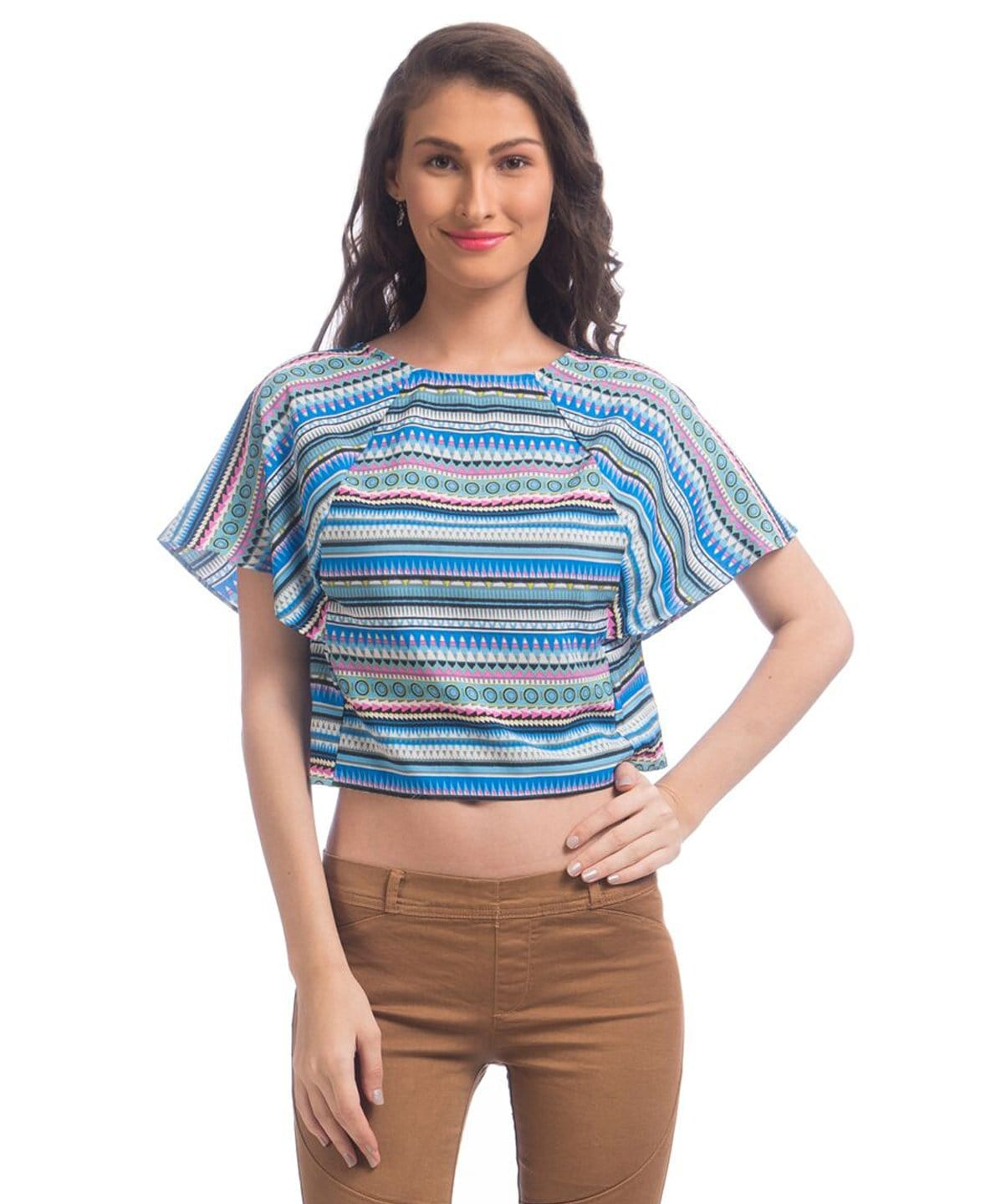 Printed Light Blue Top - Uptownie