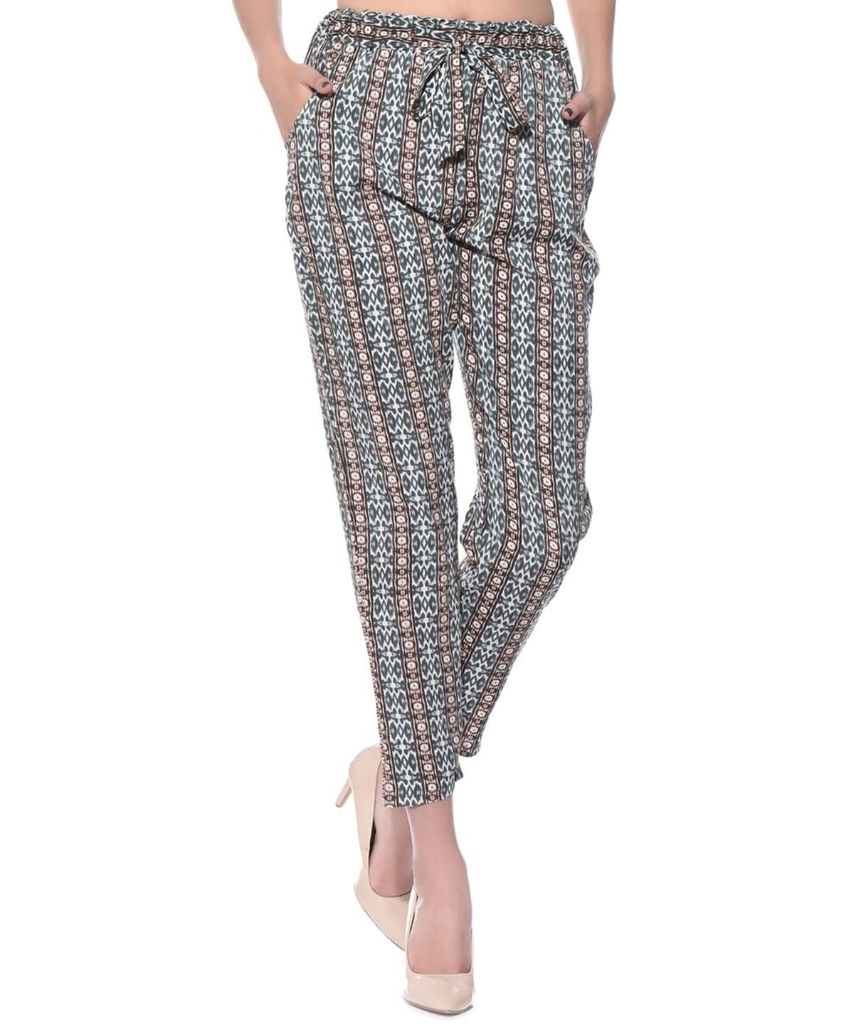 Blue Black Vertical Print Trousers - Uptownie