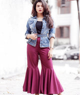 Uptownie Plus Solid Maroon Flared Adjustable Pants 2 trendsale