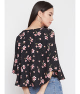 Printed Black Button Down Cape Top
