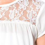 Solid White Lace Neck Crepe Top
