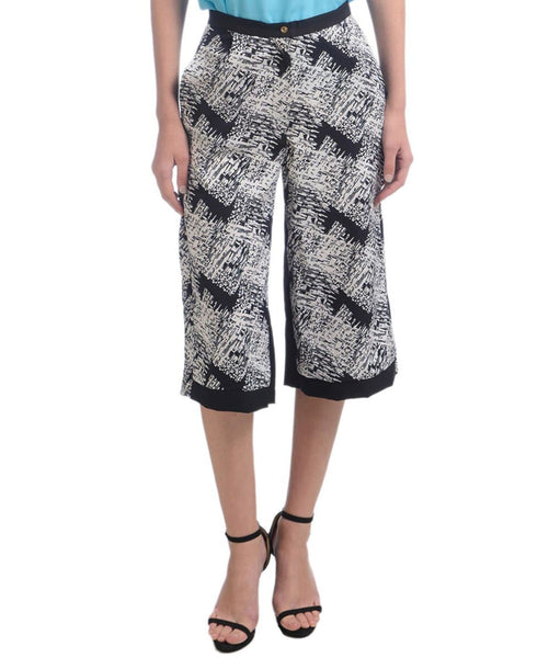 Printed Black & White Printed Crepe Culottes - Uptownie