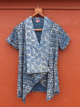 Printed Blue Linen Wrap Shrug