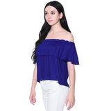 Solid Blue Ruffle Off Shoulder Rayon Top
