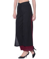 Uptownie Colorblocked Black & Maroon Layered Palazzos 2 trendsale