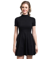 Black Skater Back Cutout Stretchable Cotton Dress - Uptownie