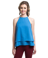 Solid Blue Halter Crepe Top - Uptownie