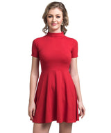 Solid Red Skater Cotton Stretch Dress - Uptownie