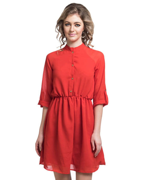 Solid Red Georgette Shirt Dress - Uptownie