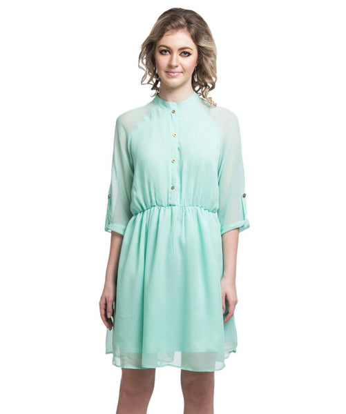 Solid Mint Green Shirt Georgette Dress - Uptownie