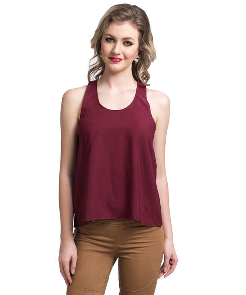 Solid Maroon Sleeveless Crepe Top - Uptownie
