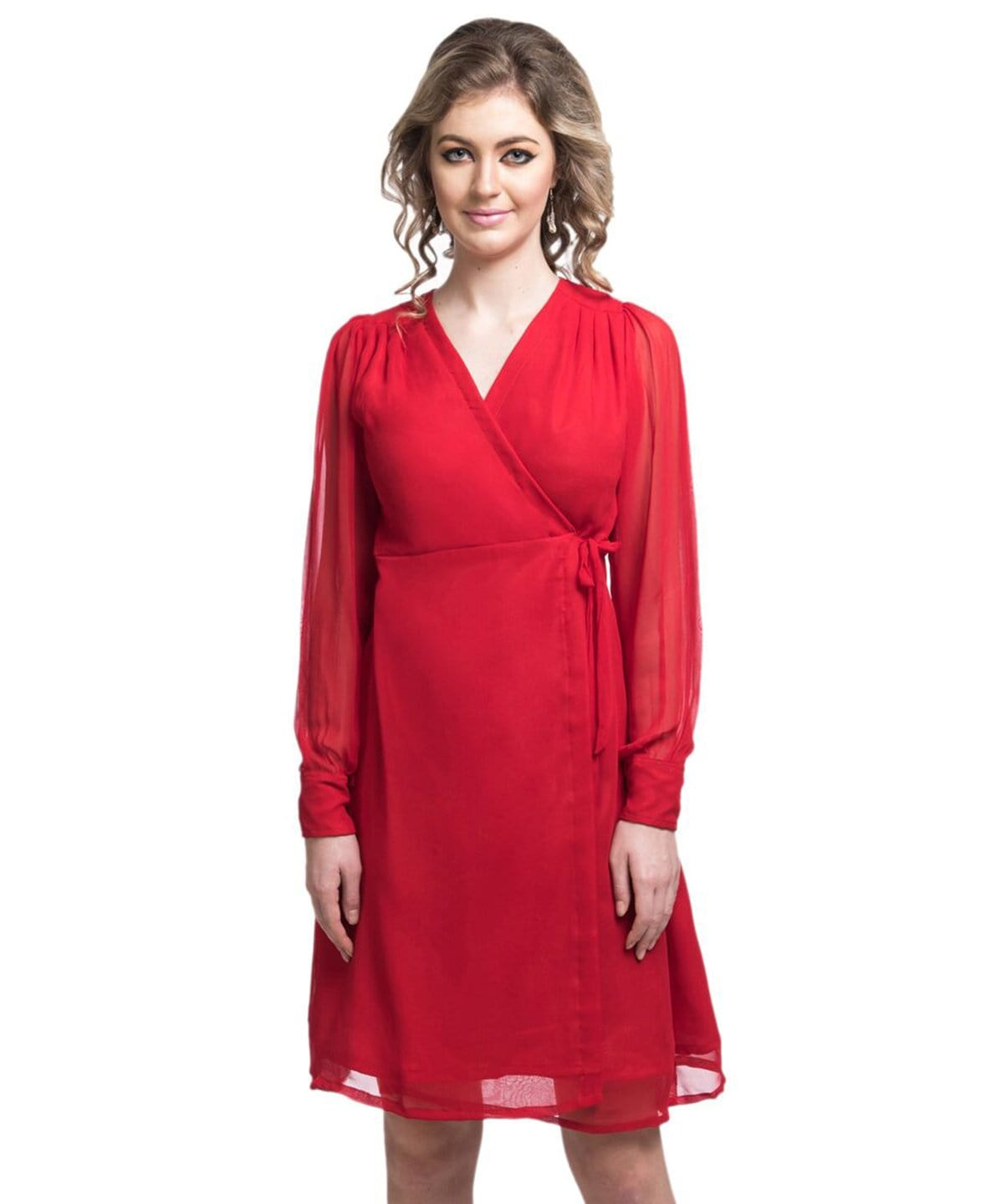 Solid Red Wrap Georgette Dress - Uptownie