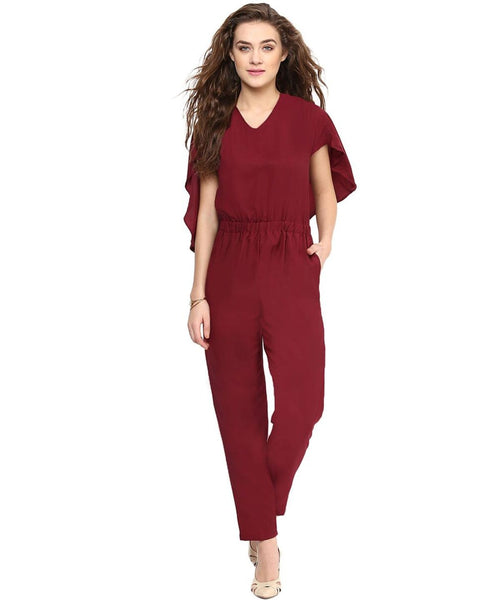 Maroon Back Cape Stretch Cotton Jumpsuit - Uptownie
