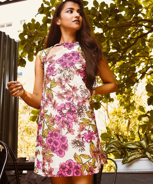 Printed Pink Neck Cut-Out Floral Georgette Dress - Uptownie