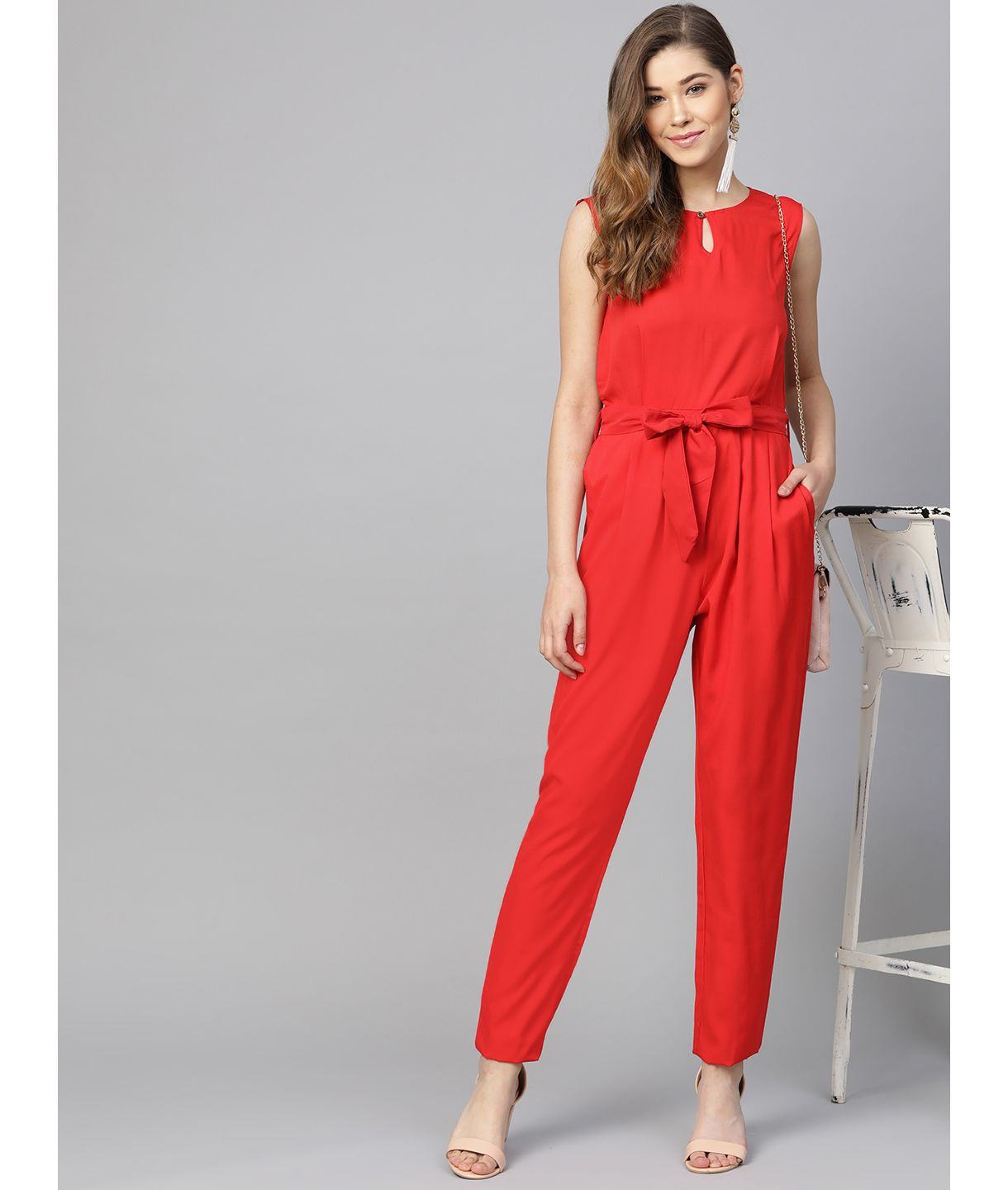 Red Waist Tie Jumpsuit