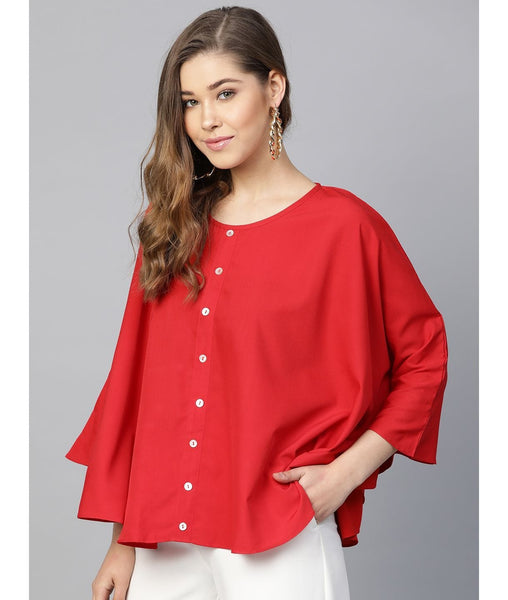 Red Buttoned Crepe Cape Top