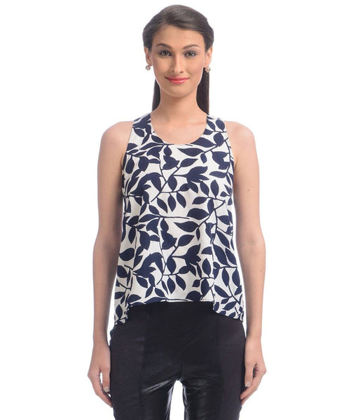 Printed Blue & White Sleeveless Top - Uptownie