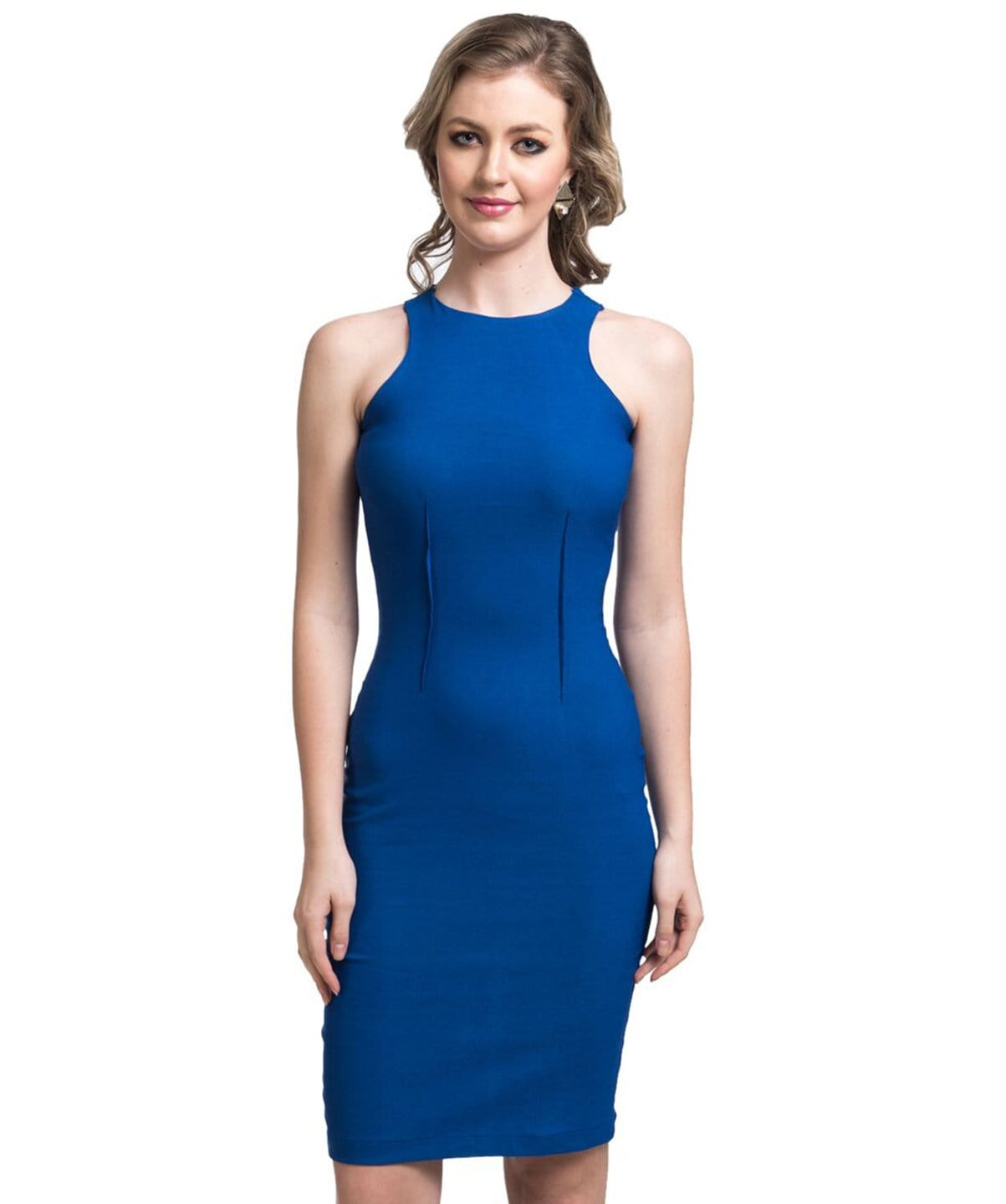 Solid Blue Bodycon Dress - Uptownie