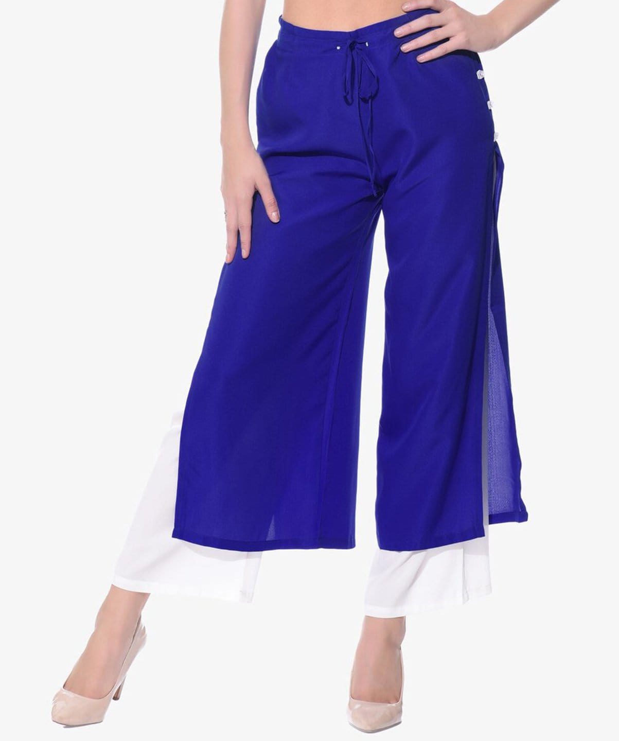 Colorblocked Blue & White Layered Palazzos - Uptownie