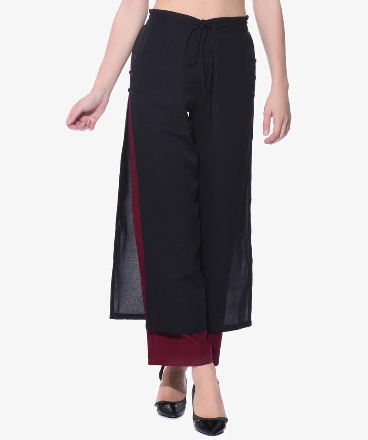 Uptownie Colorblocked Black & Maroon Layered Palazzos 1 trendsale