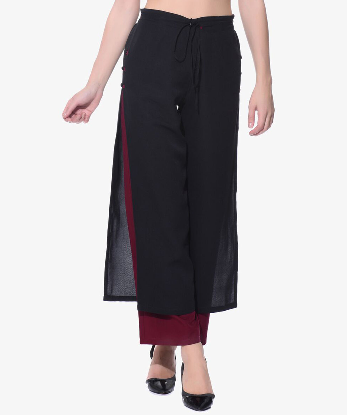 Colorblocked Black & Maroon Layered Palazzos - Uptownie