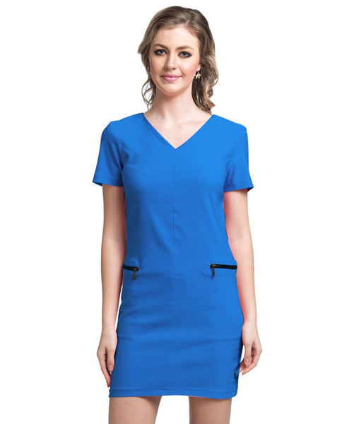 Solid Blue Bodycon Stretchable Cotton Dress - Uptownie