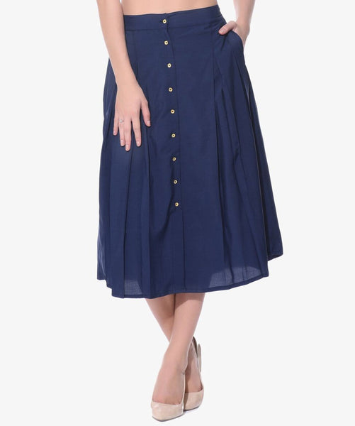 Navy Blue Buttoned Down Skirt - Uptownie