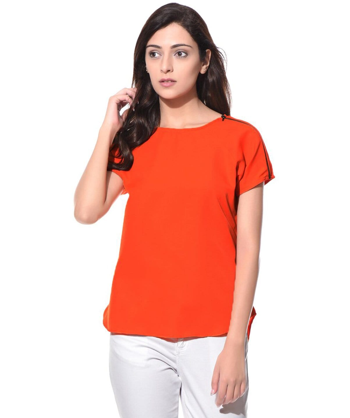 Solid Orange Crepe Side Zipper Crepe Top - Uptownie