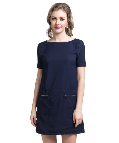 Solid Navy Blue Shift Dress - Uptownie