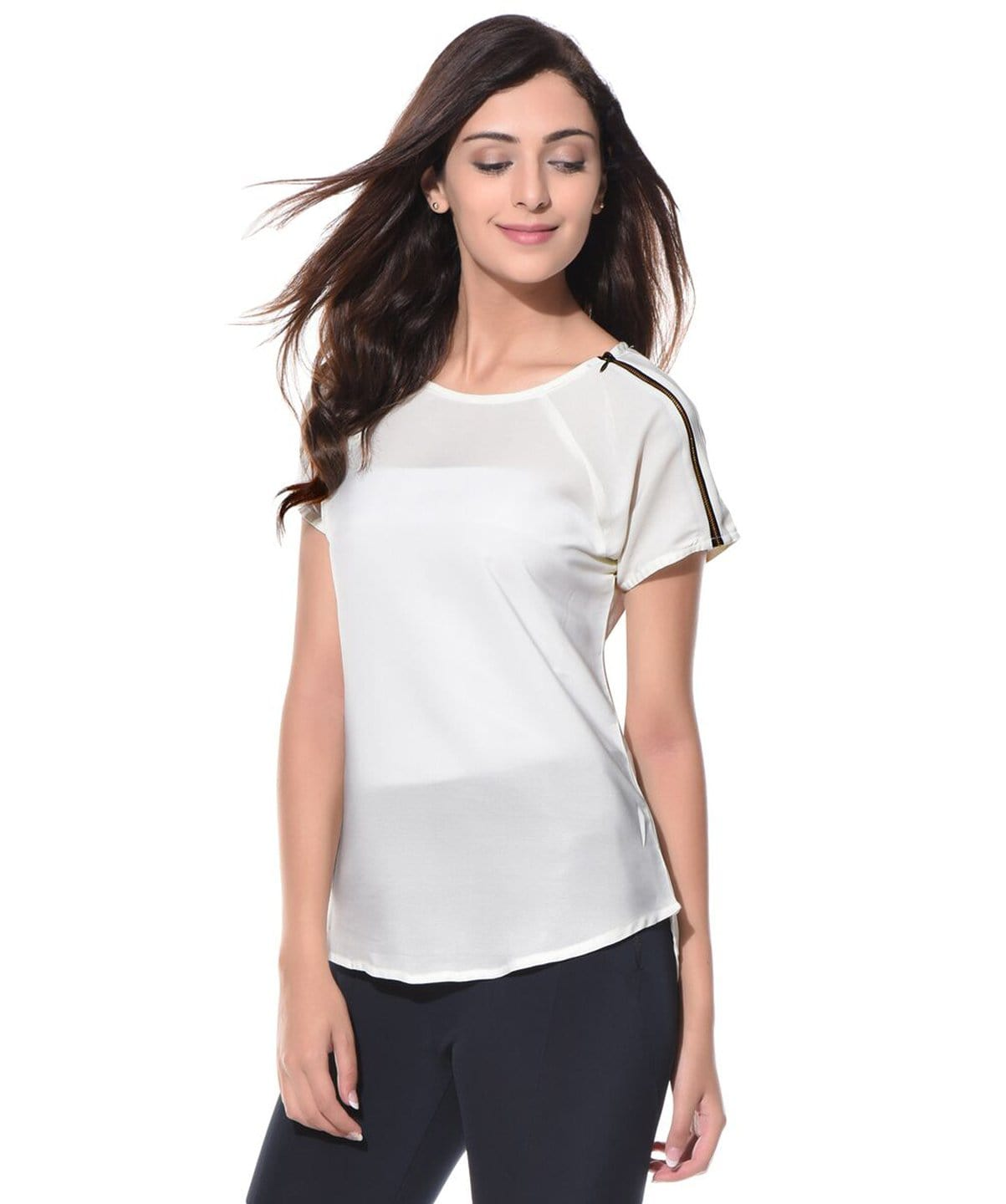 Solid White Shoulder Zipper Top - Uptownie