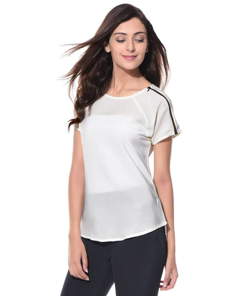 Solid White Shoulder Zipper Top. BUY 1 GET 3