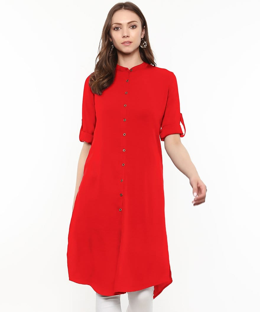 Solid Red Roll-Up Sleeves Crepe Kurti