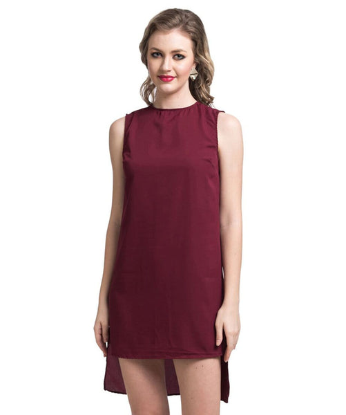 Solid Maroon Hi-low Crepe Dress - Uptownie