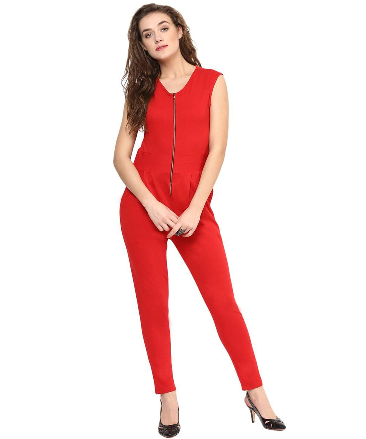 Red Solid Front Zipper Cotton Jumpsuit - Uptownie