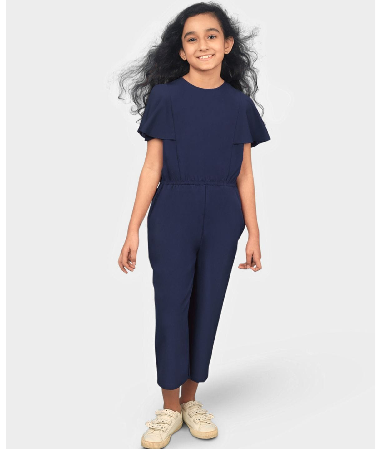 Solid Ruffle Sleeves Girls Jumpsuit