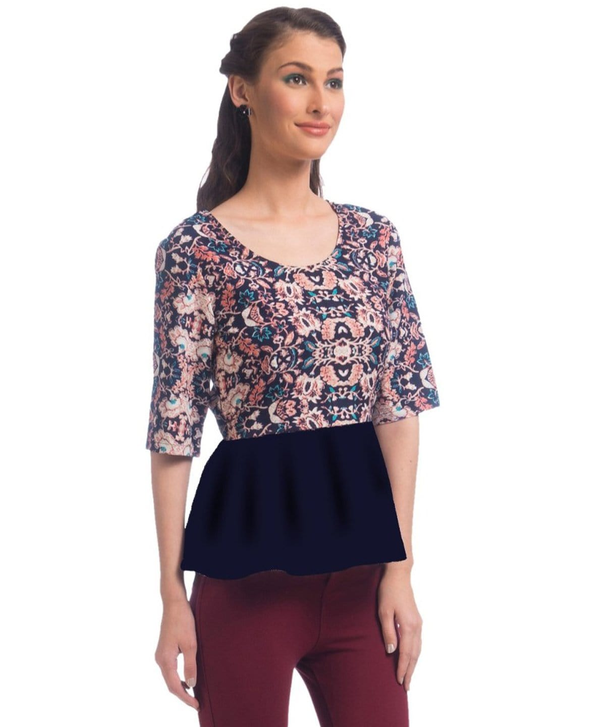 Printed MultiColour Peplum Top - Uptownie