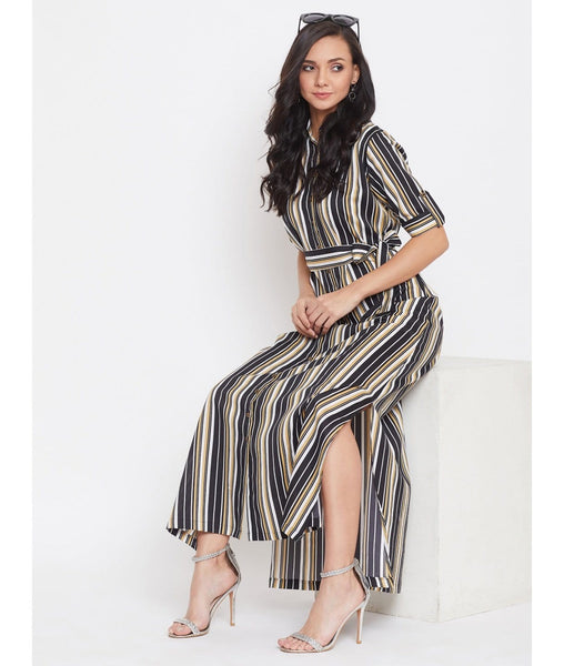 Black Yellow Striped Collar Buttoned Down Shirt Maxi Dress
