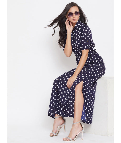 Printed Navy Blue Polka Collar Buttoned Down Shirt Maxi Dress