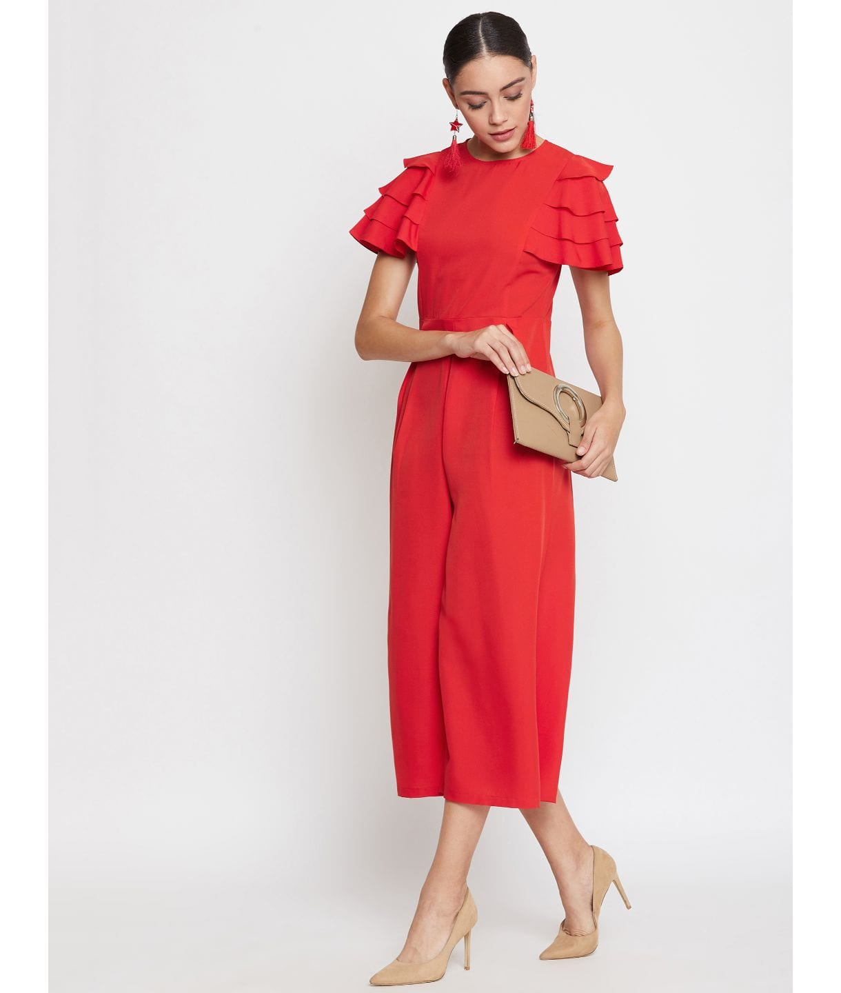 Uptownie Red Solid Relaxed Fit Culotte Jumpsuit With Ruffled Sleeves