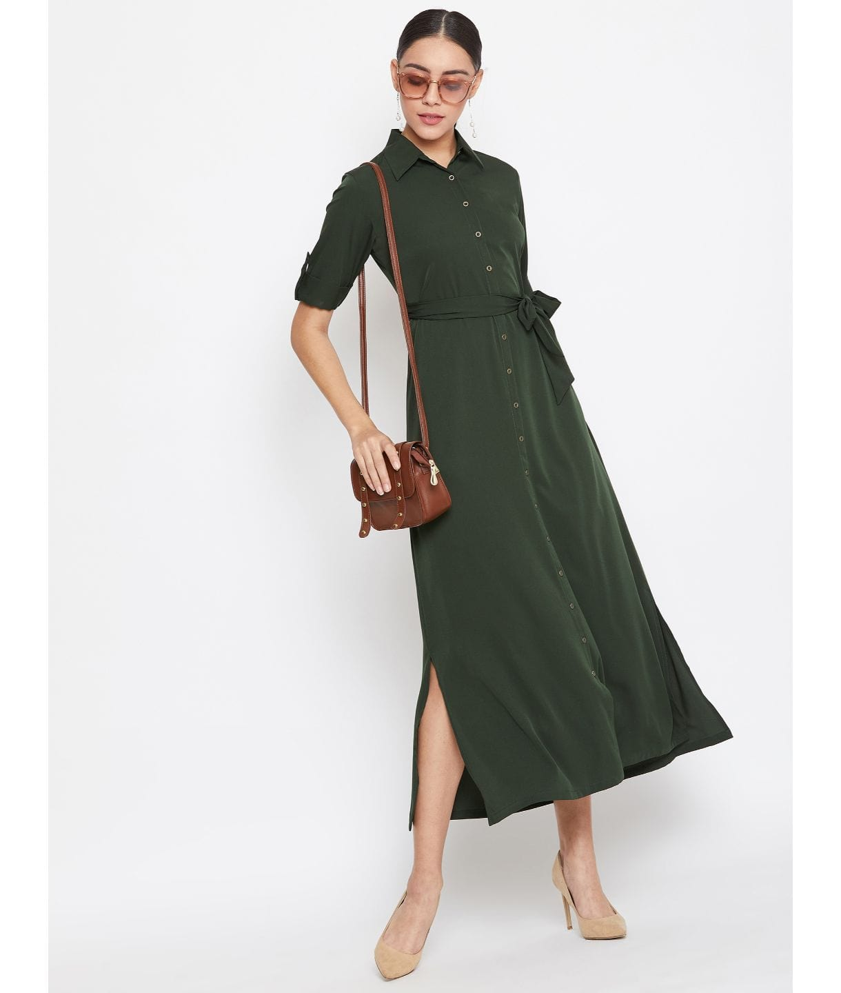 Uptownie Army Green Solid Crepe Collar Buttoned Down Shirt Maxi Dress