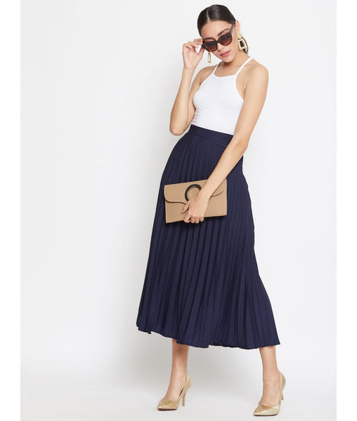 Navy Pleated Crepe Skirt