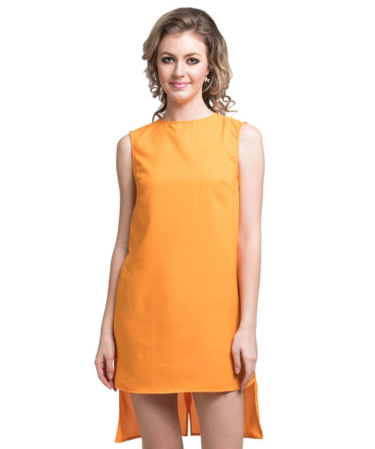 Solid Yellow Hi-low Crepe Dress - Uptownie