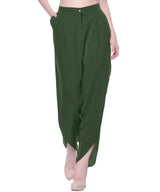 Uptownie Olive Green Crepe Tulip Pants 2 clearance sale